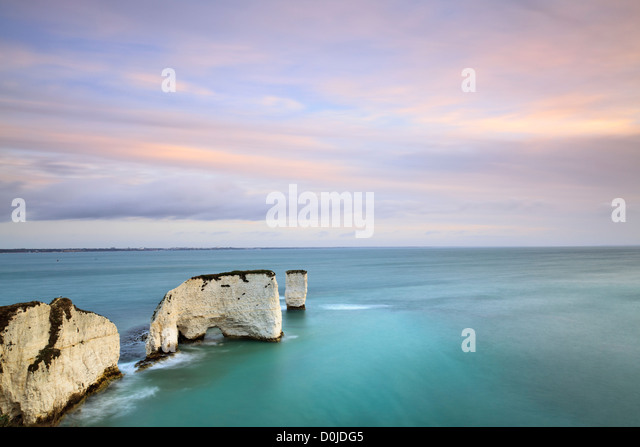 A view along Old Harry Rocks near Swanage on the Dorset coast. - Stock Image