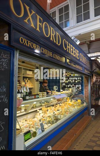 A visit to the historic University City of Oxford Oxfordshire England UK Oxford Cheese Company covered Market - Stock Image