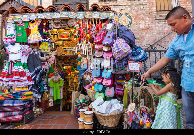 Los Angeles California CA L.A. Los Angeles Plaza Historic District Mexican heritage Olvera Street plaza marketplace - Stock Image