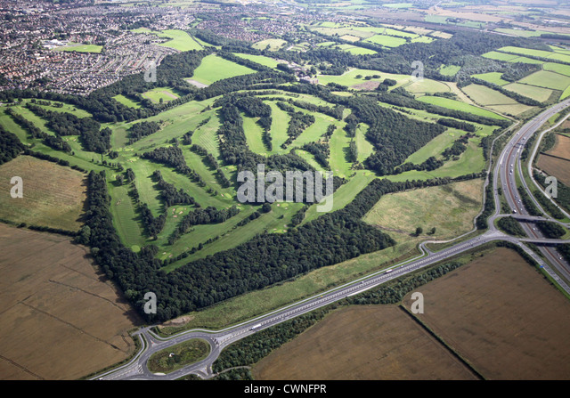 aerial view of Temple Newsham Golf Course, Leeds - Stock Image
