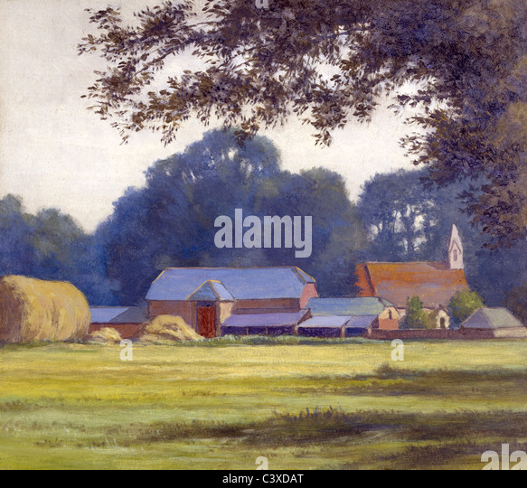 The Farm, by Alfred Lys Baldry. West Parley, England, 1909 - Stock-Bilder