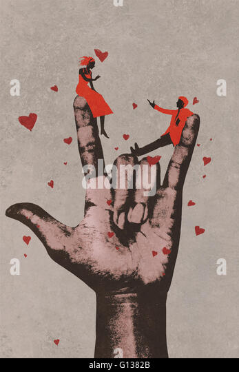 big hand in I LOVE YOU sign with romantic couple in love,illustration painting - Stock-Bilder