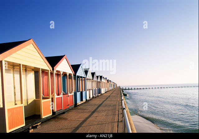 England, Suffolk, Southwold, Beach Huts - Stock-Bilder