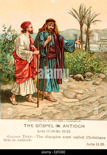 A bible card depicting the Gospel at Antioch, Paul on the road to conversion. - Stock Image