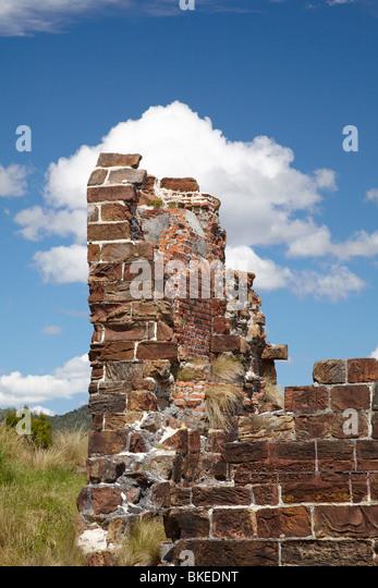 Ruins, Sarah Island (Historic Convict Station), Maquarie Harbour, Western Tasmania, Australia - Stock Image