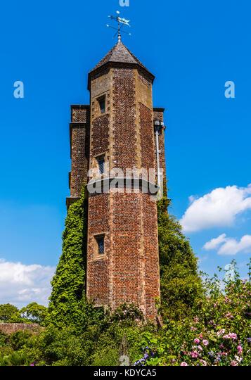 Castle tower at Sissinghurst Gardens, Kent, UK - Stock Image