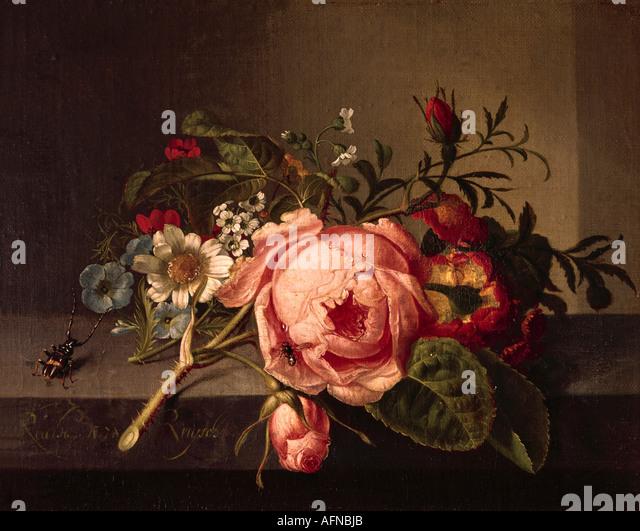 'fine arts, Ruysch, Rachel, (1664 - 12.8.1750), painting, 'Rosenzweig mit Käfer und Biene', Öffentliche - Stock-Bilder