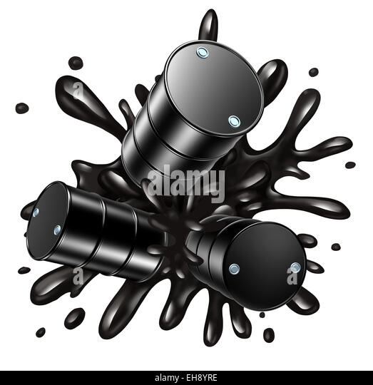 Oil fall and barrels dropping as a concept for faling fuel and gas prices as liquid black crude petroleum splashing - Stock Image
