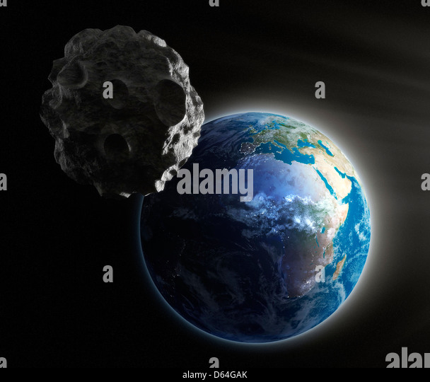 Near-Earth asteroid, artwork - Stock Image