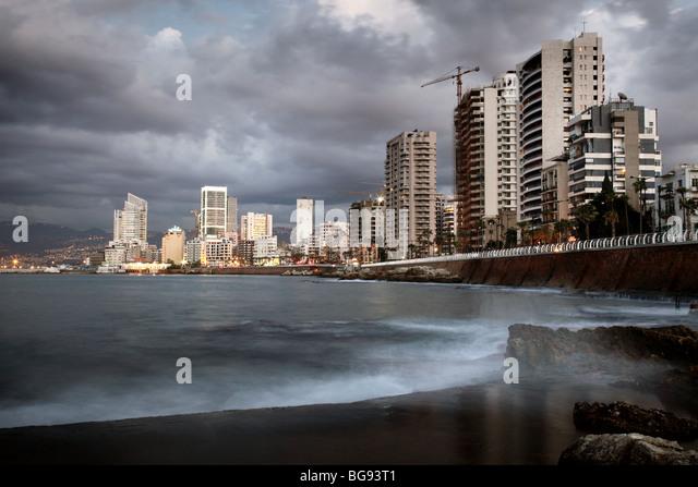 Corniche Beirut Lebanon Arab Middle East Lebanese - Stock Image