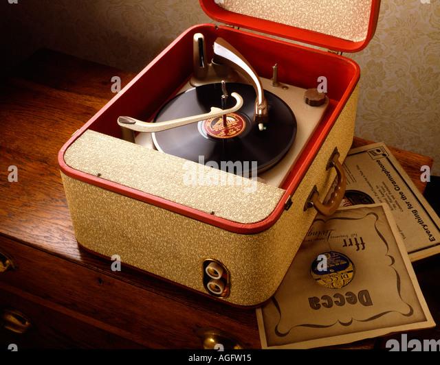 Record Player 1950 s Dansette type - Stock-Bilder