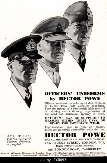 1940s UK Hector Powe Uniforms Magazine Advert - Stock Image