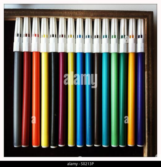 Colored pens - Stock Image
