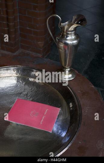 Marital status, baptismal cymbal, marital status, document, cymbal, pot, cup, baptism, christen, church, ritual, - Stock-Bilder