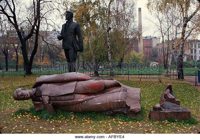 Russia former Soviet Union Moscow fallen Stalin statue fall of communism - Stock Image