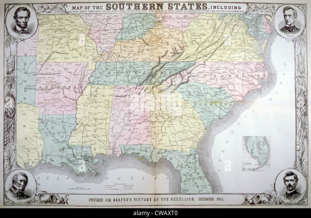 Map of the southern states published for Harper's Pictorial History of the Great Rebellion, December 1863 - Stock Image