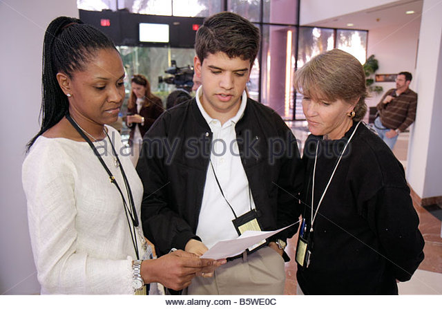 Miami Florida City of Miami Riverside Center centre Project SEARCH Miami Open House student mentally challenged - Stock Image
