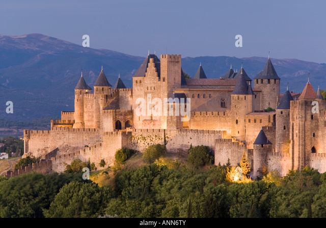 France Languedoc Roussillon Carcassonne La Cite of Carcassonne - Stock-Bilder