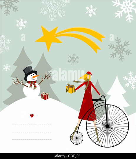 Snowman with star and gift on a bicycle illustration with blank lines to write on snowy background. Vector file - Stock Image