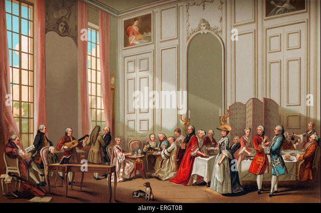 Daily life in French history: the aristocracy taking tea, 'Thé à l'Anglaise', at the house - Stock Image