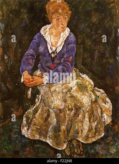 Egon Schiele - Edith Schiele, die Frau des Künstlers, Sitzend - Stock Image