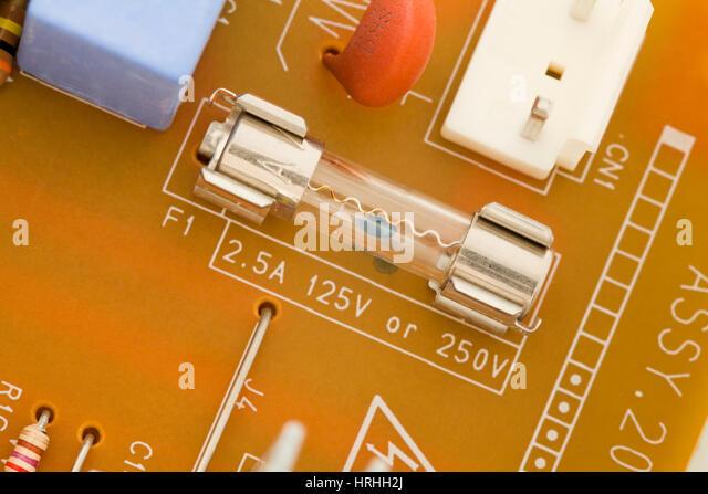 Electronic power supply CPB fuse (125v / 250v) - Stock Image