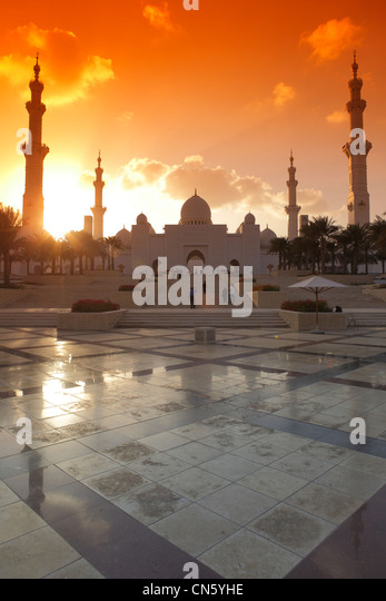 Sheikh Zayed Grand Mosque, Abu Dhabi, United Arab Emirates - Stock Image
