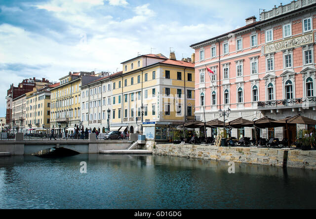 Trieste, Italy restaurants Canal Grande area - Stock Image
