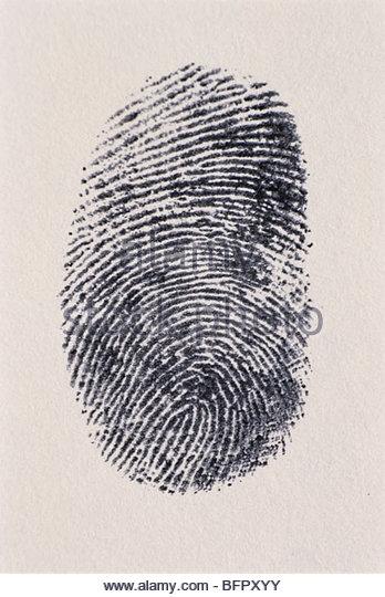 MAK 66702 : Thumb impression on white paper - Stock Image