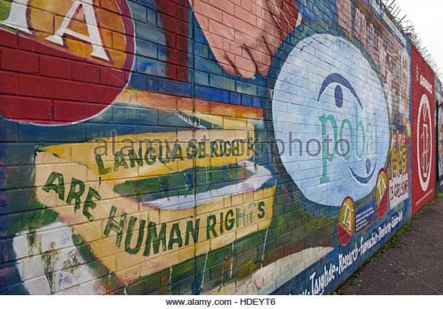 Language Rights Are Human Rights - International Peace Wall,Cupar Way,West Belfast, Northern Ireland, UK - Stock Image