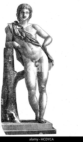 a young Faunus, in ancient Roman religion and myth, Faunus was the horned god of the forest, plains and fields, - Stock Image