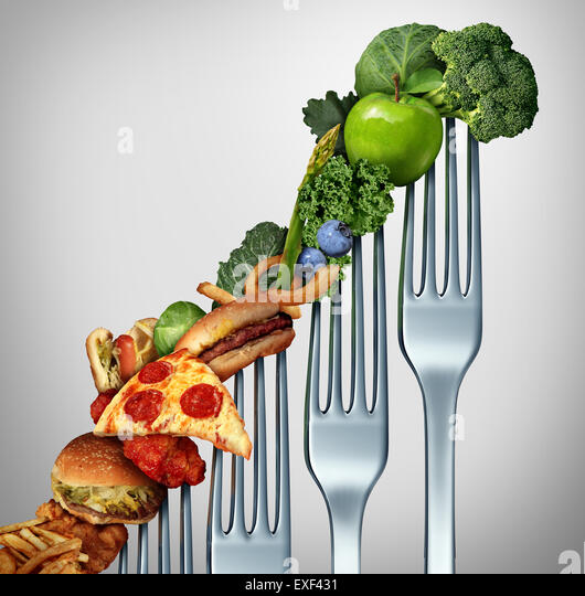Diet progress change as a healthy lifestyle improvement concept and evolving to accept the challenge of eating raw - Stock Image
