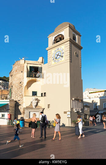 tourists in the evening sun on piazza umberto, capri, italy, - Stock Image
