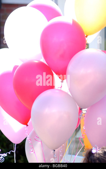 Photograph of balloons sunshine summer childrens party birthday - Stock-Bilder