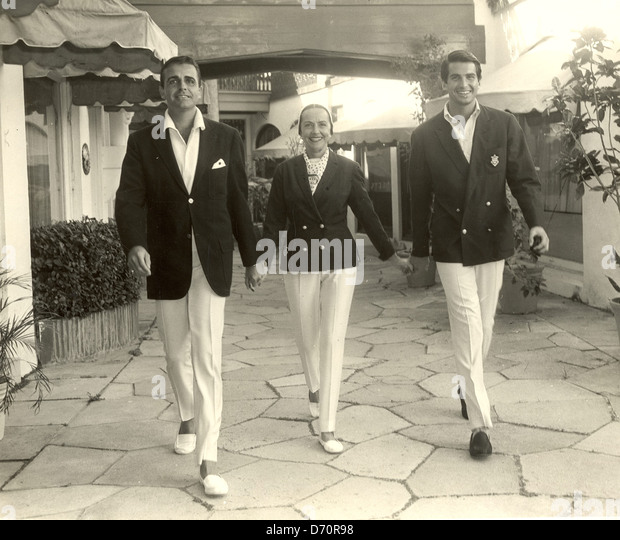 Actor George Hamilton in Palm Beach with his mother Ann Stevens and his step-brother William Potter, 1960. Photo - Stock Image