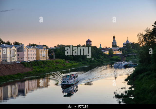 The ship floats on the river. Russia. City Vologda - Stock Image