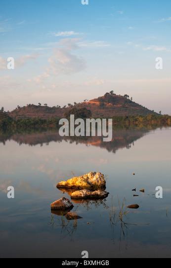 Morning sun across indian lake. Andhra Pradesh, India - Stock-Bilder