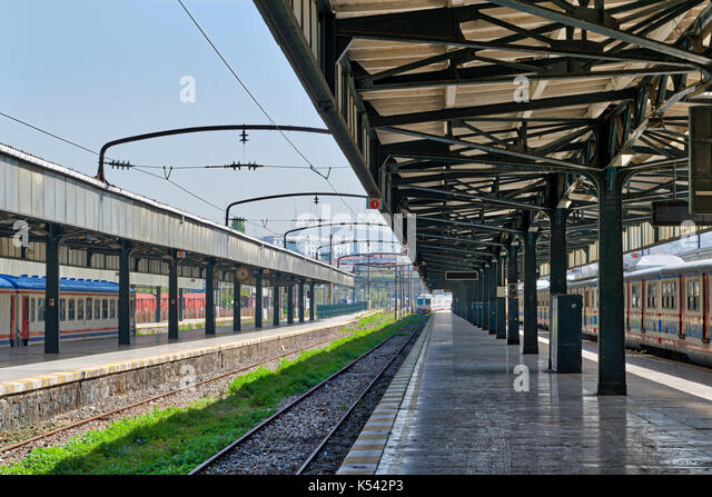 Interior shot of Haydarpasha Railway Terminal featuring metal truss and two colored stopped trains, Kadikoy, Istanbul, - Stock Image
