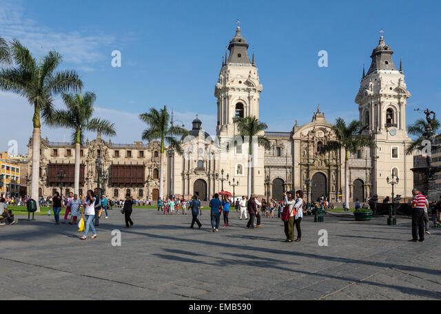 Lima, Peru.  Cathedral and Archbishop's Palace, Plaza de Armas. - Stock Image