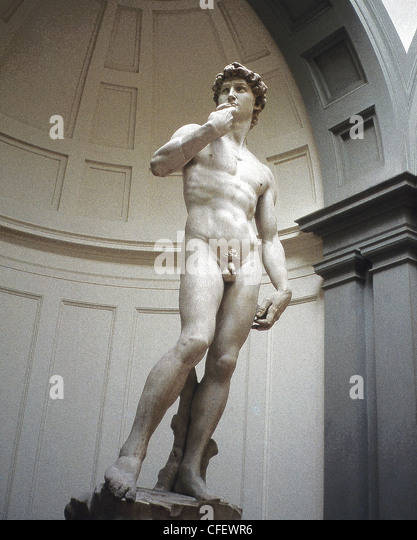 This statue of the Biblical character David, which now is housed in the Academy in Florence, was sculpted by Michelangelo. - Stock Image