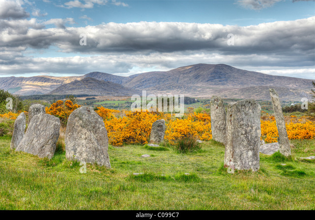 Derreenataggart stone circle, Megaliths, Castletownbere, Beara Peninsula, Cork, Republic of Ireland, British Isles, - Stock Image