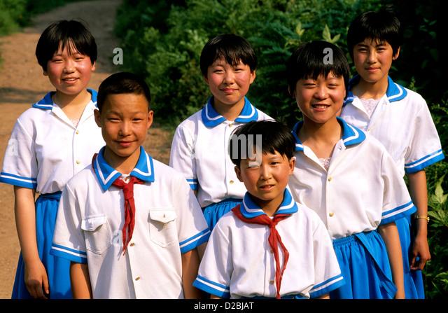 China, Beijing. Portrait Of Schoolchildren In Uniforms - Stock Image
