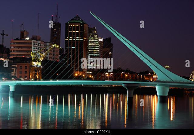 Bridge of the Woman (Puente De La Mujer) by night, Buenos Aires, Argentina - Stock Image