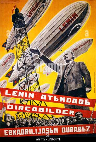Lenin Airships, 1931 Russian poster, We Are Building a Fleet of Airships for Lenin, text in Azerbaijanian - Stock Image