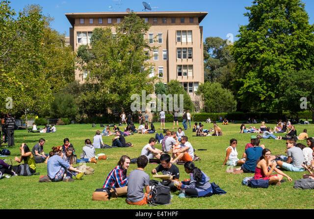 Melbourne Australia Victoria Carlton Parkville University of Melbourne campus school South Lawn student man woman - Stock Image