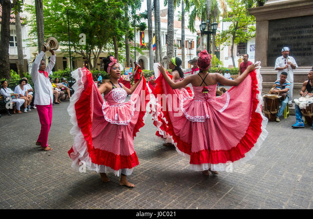 Traditional dancing in Cartagena, Colombia - Stock Image