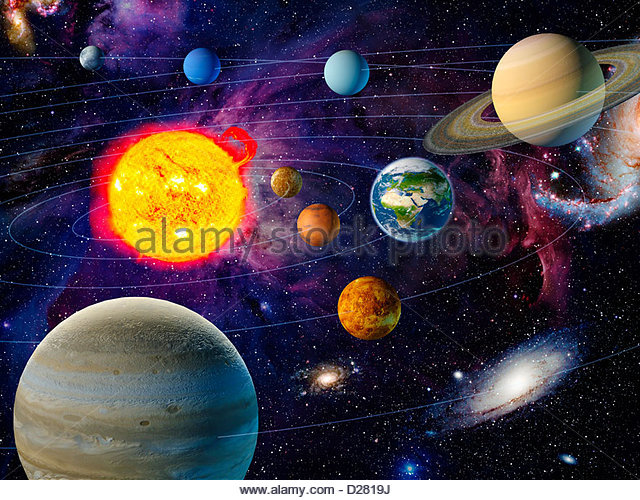 Orbiting planets in solar system - Stock Image