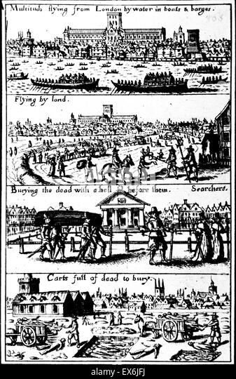 Woodcut designed to stir sympathy among the country districts for those who had fled the Great Plague in London. - Stock Image