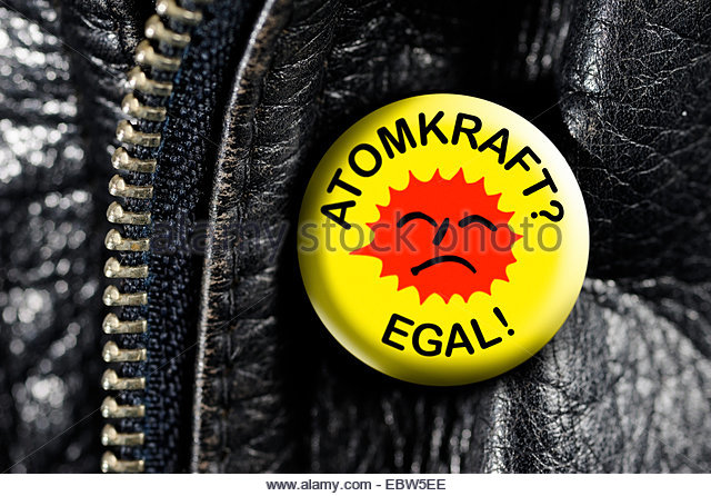 leather jacket with button Atomkraft? - Egal... - Stock Image