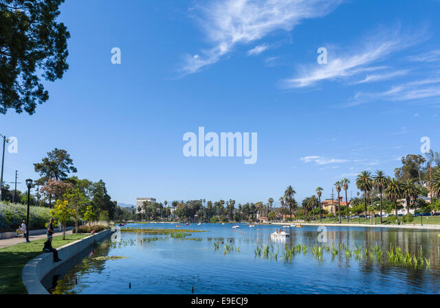 Boating Lake in Echo Park, Los Angeles, California, USA - Stock Image